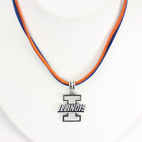 Illinois Logo Double Suede Cord Necklace