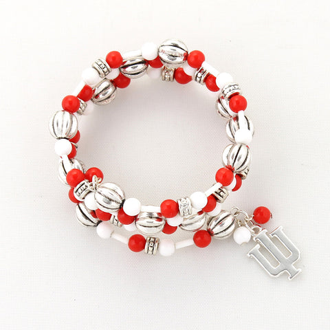 Indiana Logo Beaded Wrap Bracelet