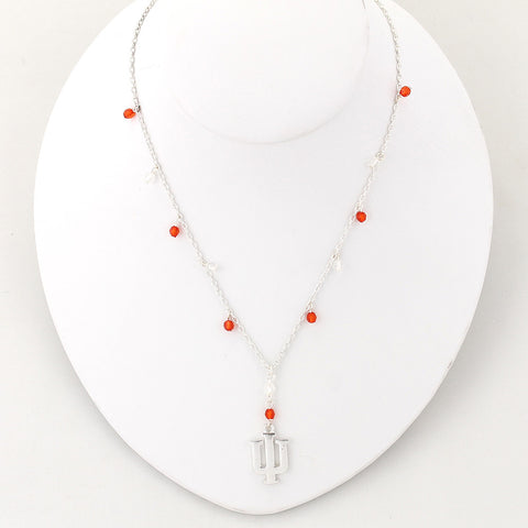 Indiana Silver Logo Beaded Chain Necklace