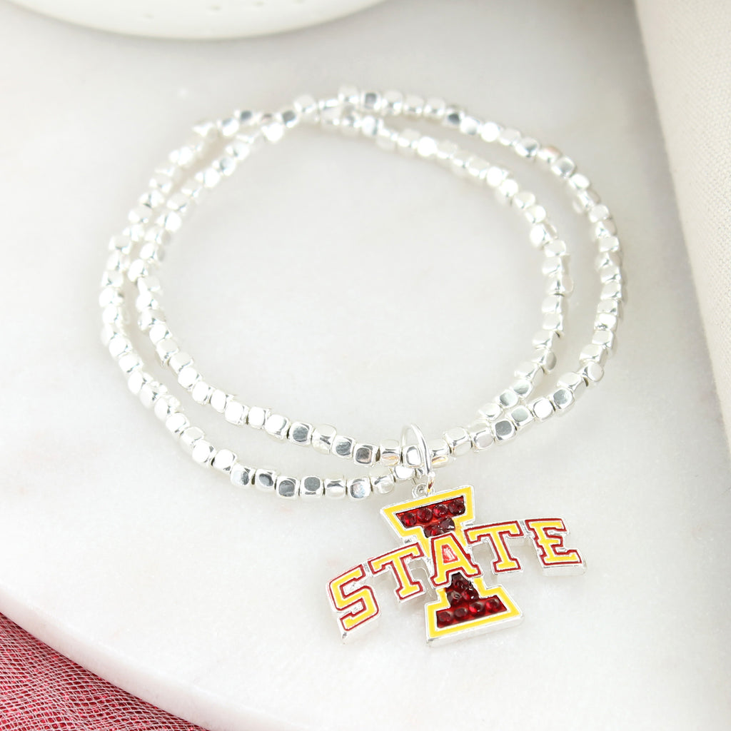 Iowa State Crystal Logo Stretch Bracelet