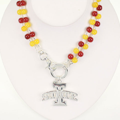 Seasons Jewelry Iowa State Beaded Logo Necklace