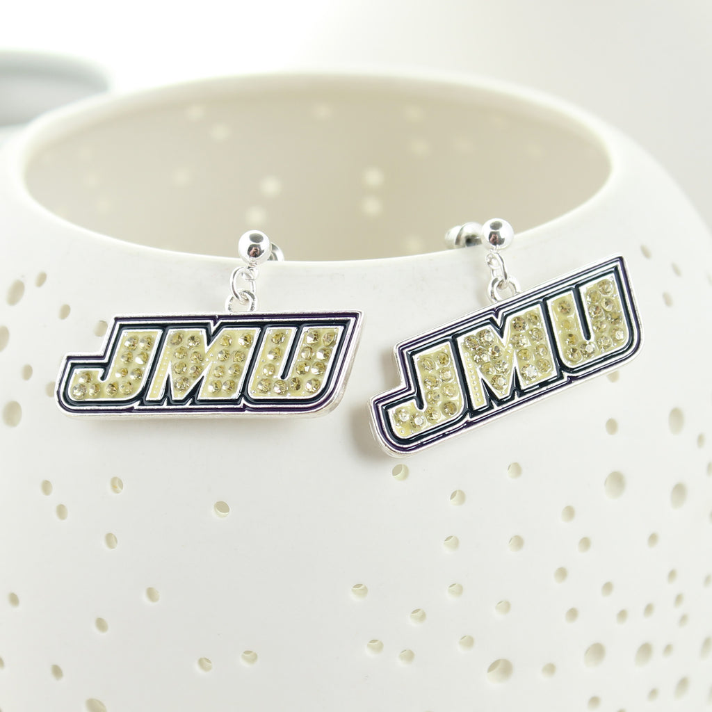 JMU Crystal Logo Earrings
