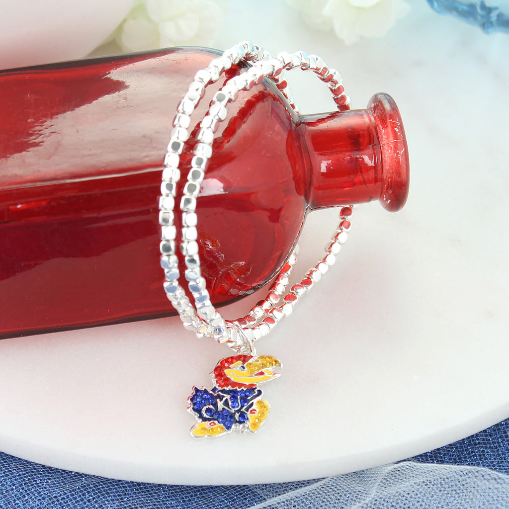 Kansas Jayhawks Crystal Logo Stretch Bracelet