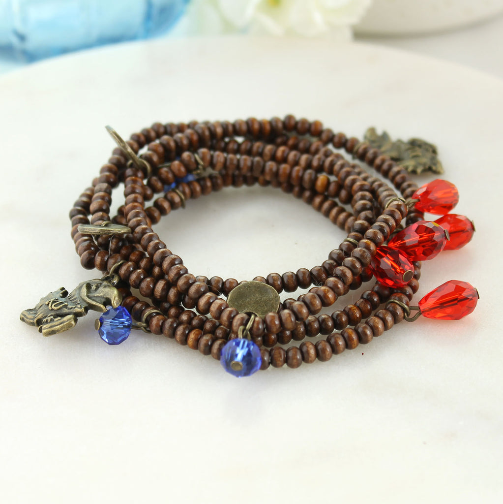 Kansas Wood Bead Stretch Necklace/Bracelet