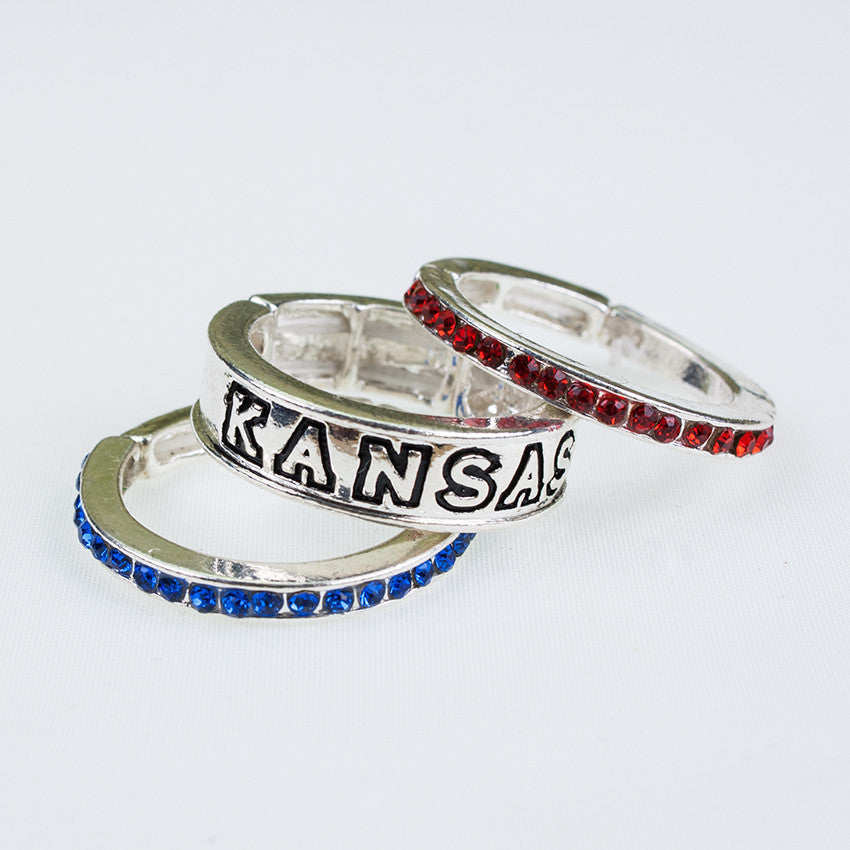 Seasons Jewelry Kansas Stackable Stretch Ring Trio Set