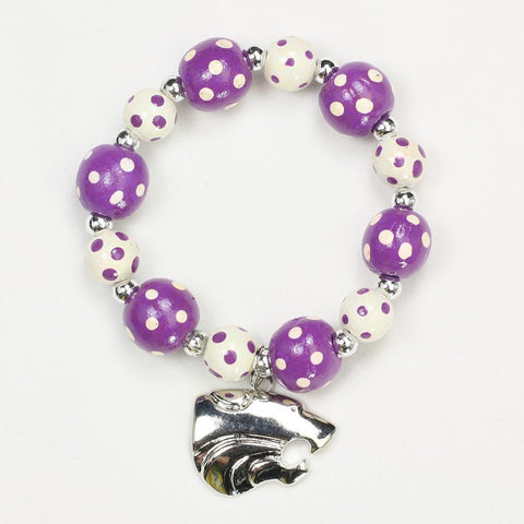 Kansas State Polka Dots Wood Bead Stretch Bracelet