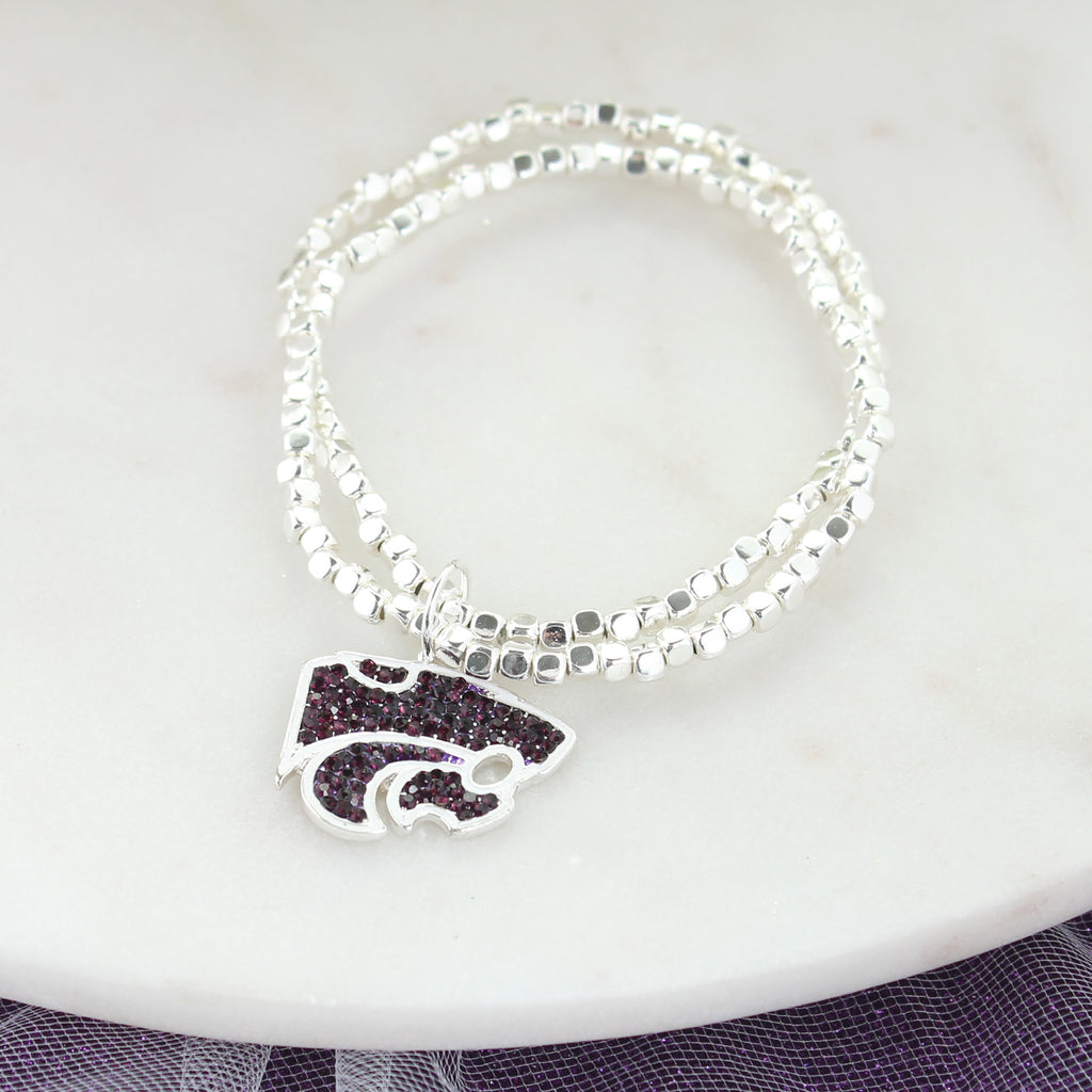 Kansas State Crystal Logo Stretch Bracelet