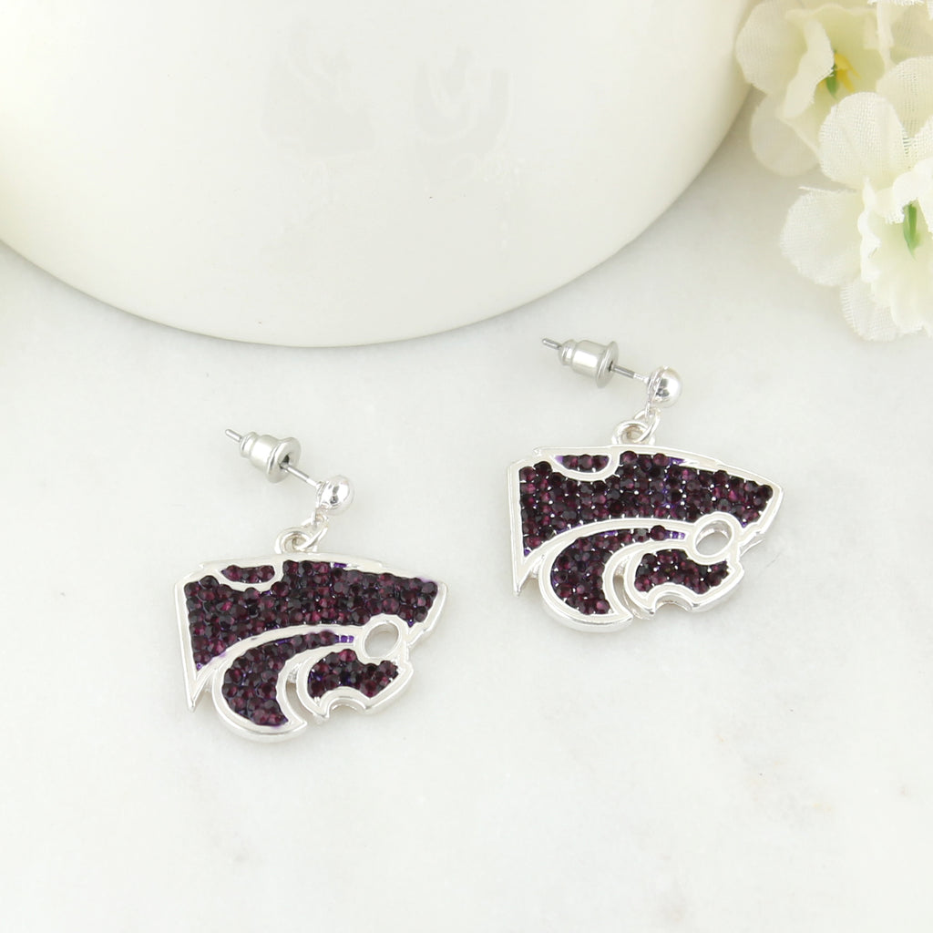 Kansas State Crystal Logo Earrings