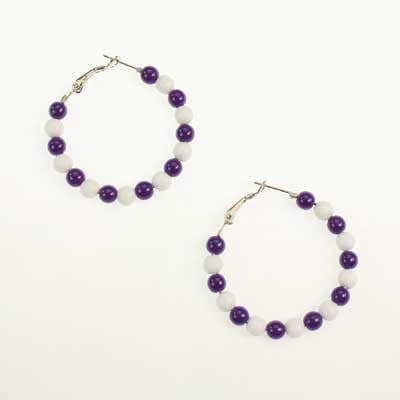 Seasons Jewelry Kansas State Beaded Hoop Earrings