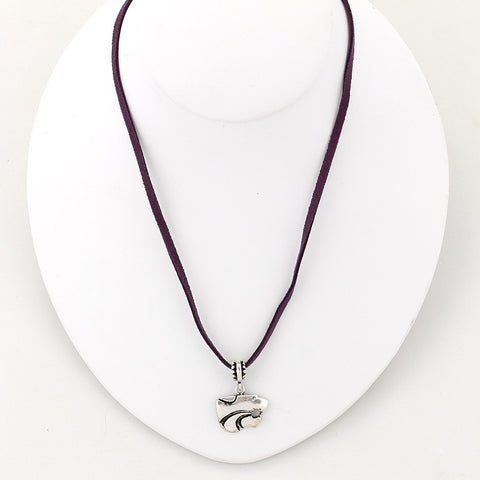 Kansas State Logo Single Suede Cord Necklace