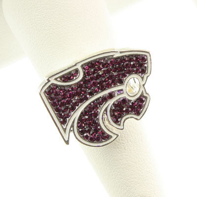Seasons Jewelry Kansas State Crystal Logo Stretch Ring
