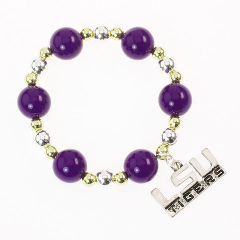 LSU Bead Stretch Bracelet