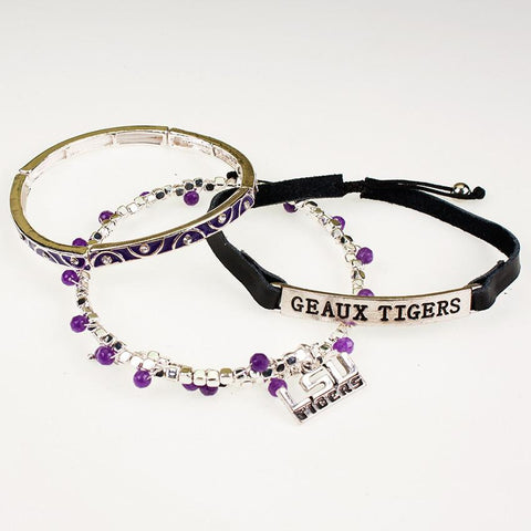 LSU Trio Bracelet Set