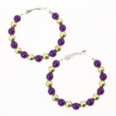 Seasons Jewelry LSU Beaded Hoop Earrings