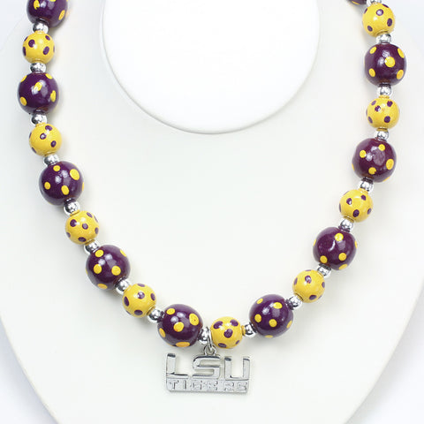 LSU Polka Dots Wood Bead Stretch Necklace