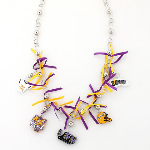LSU Painted Wood Logo with Ribbon Necklace