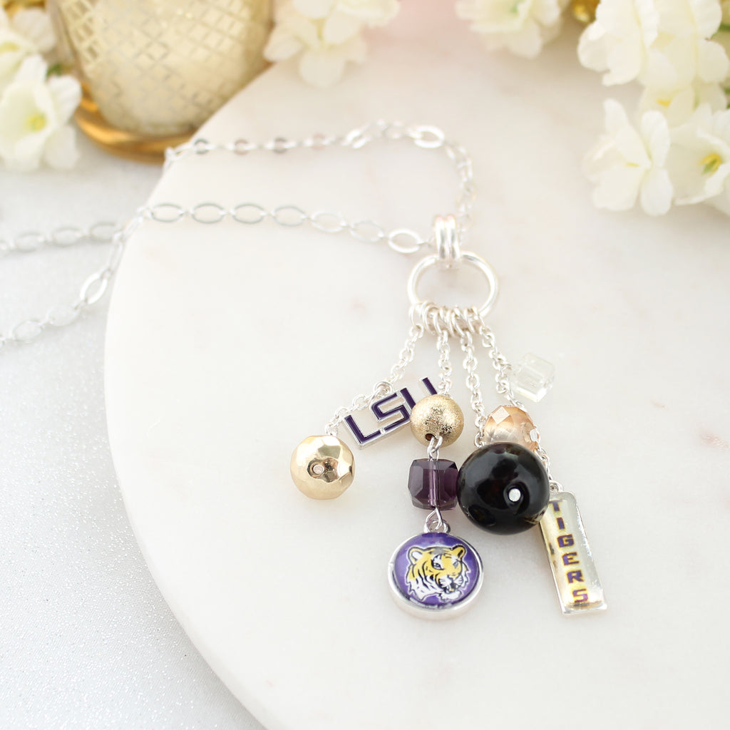 LSU Cluster Necklace