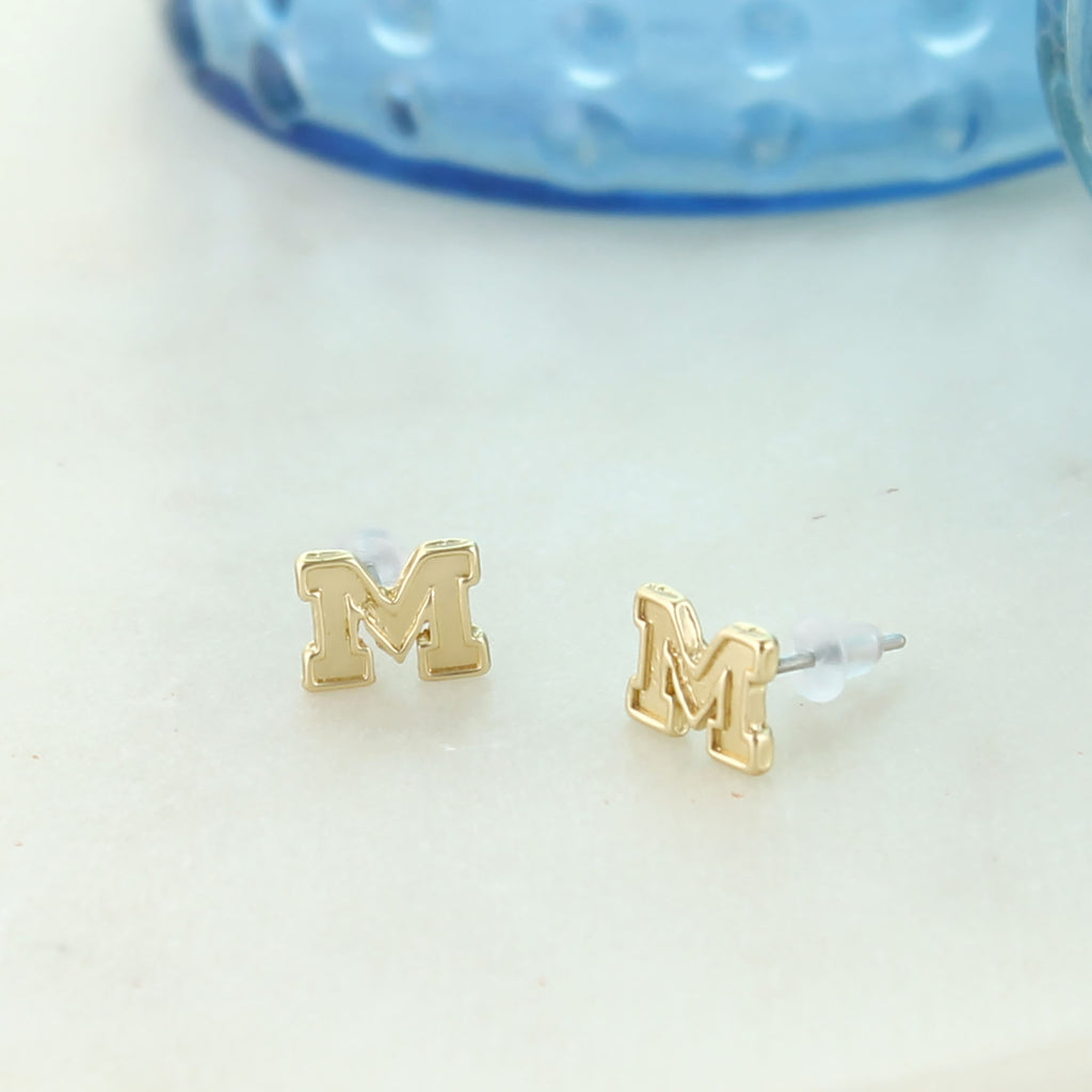 Michigan Matte Gold Logo Stud Earrings