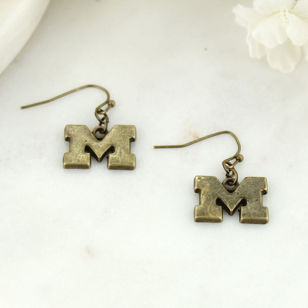 Michigan Vintage Style Logo Earrings