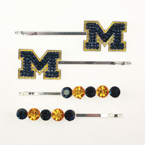 Seasons Jewelry Michigan Crystal Logo Hair Pin Set