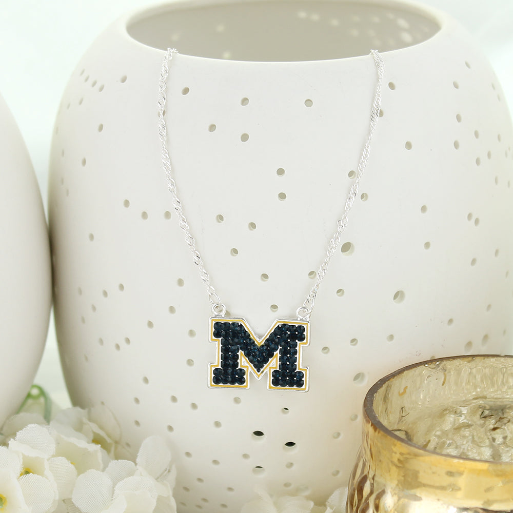 Michigan Crystal Logo Necklace