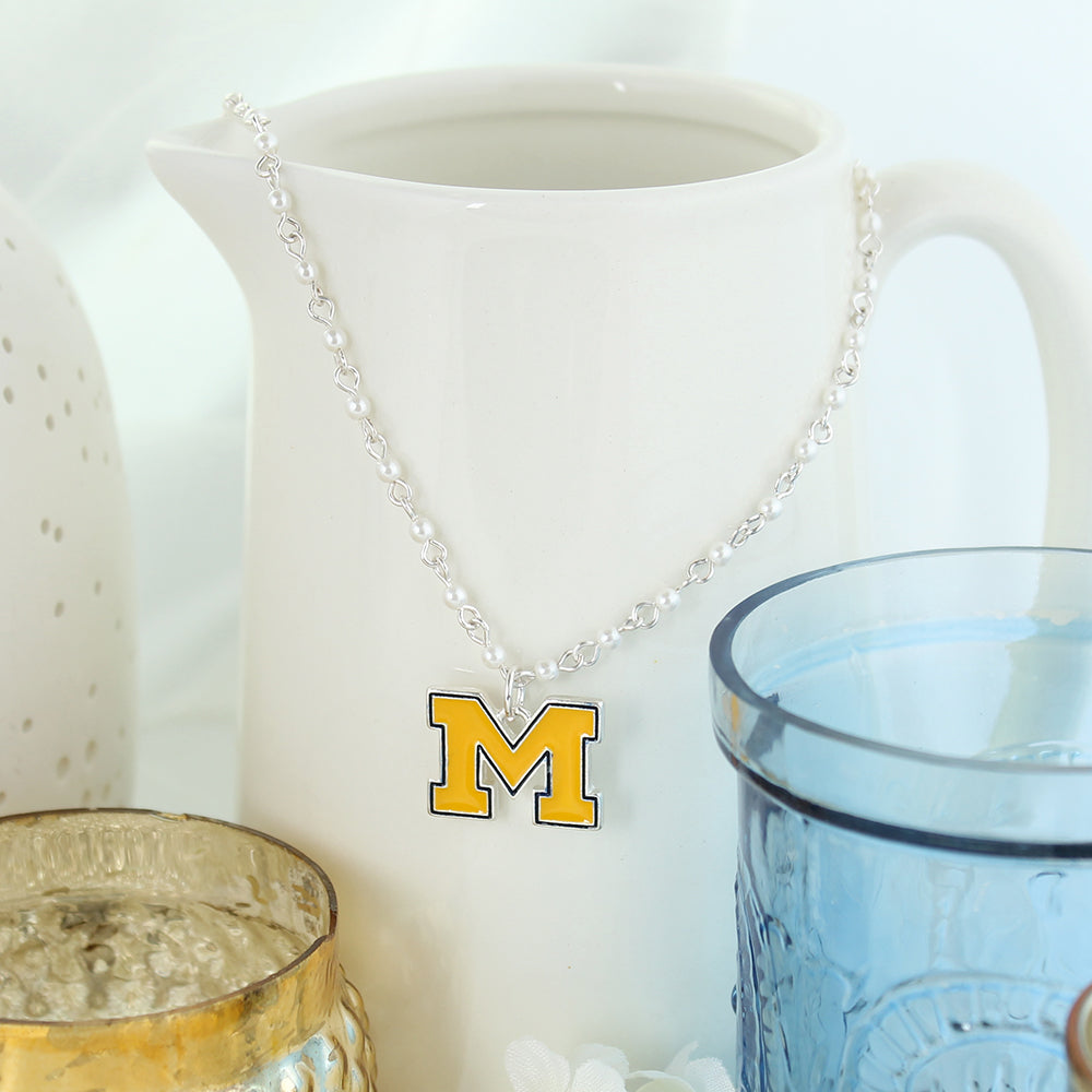 Michigan Enamel Logo & Pearl Necklace