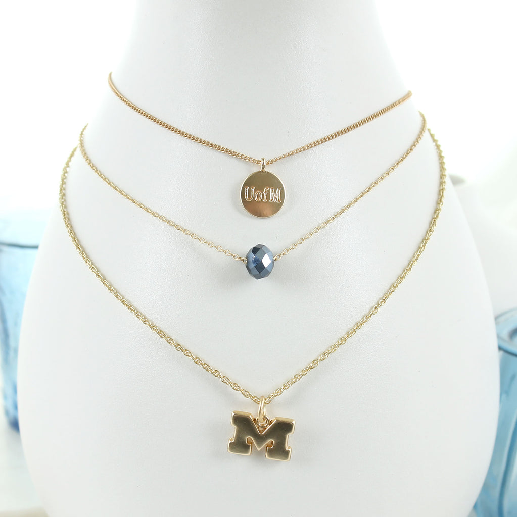 "16"" - 20"" Michigan Matte Gold Logo Trio Necklace Set"