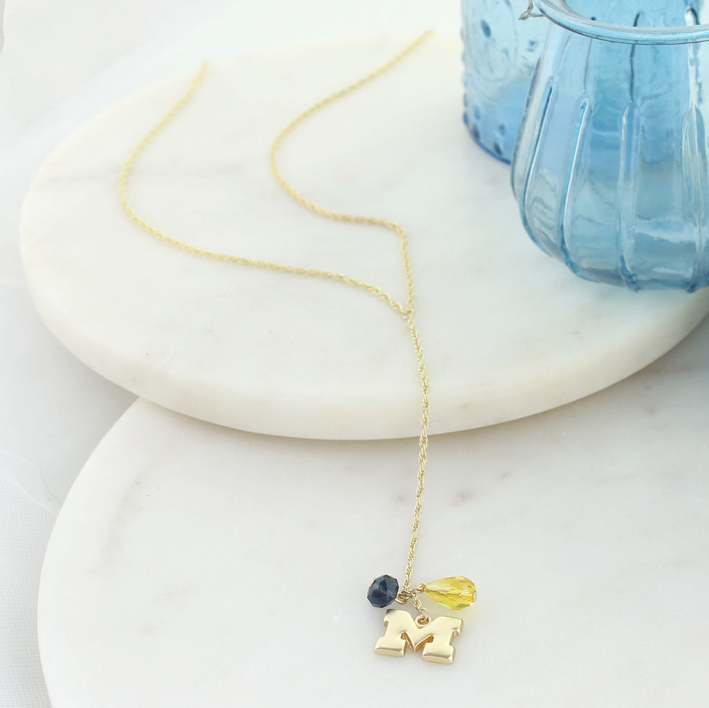 "32"" Michigan Matte Gold Logo Y-Necklace"