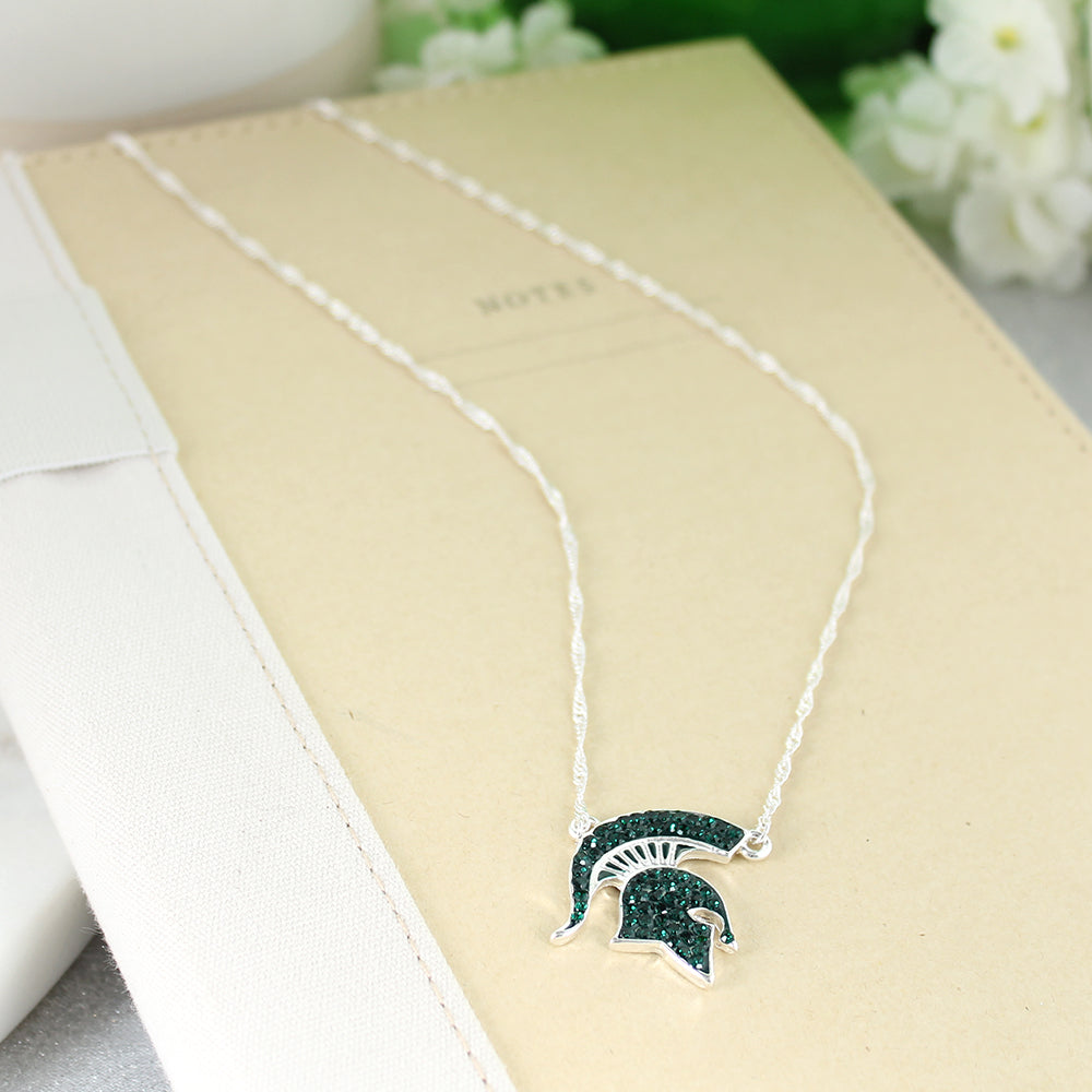 Michigan State Crystal Logo Necklace