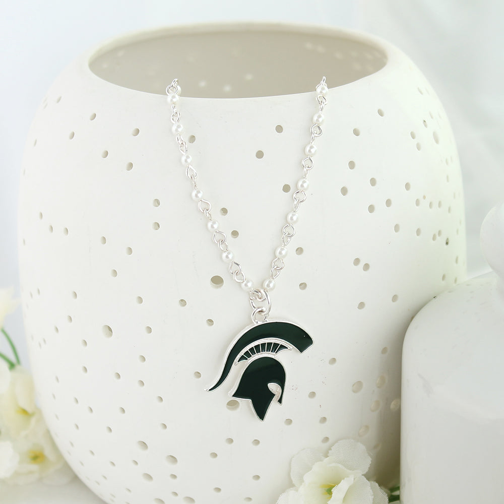 Michigan State Enamel Logo & Pearl Necklace