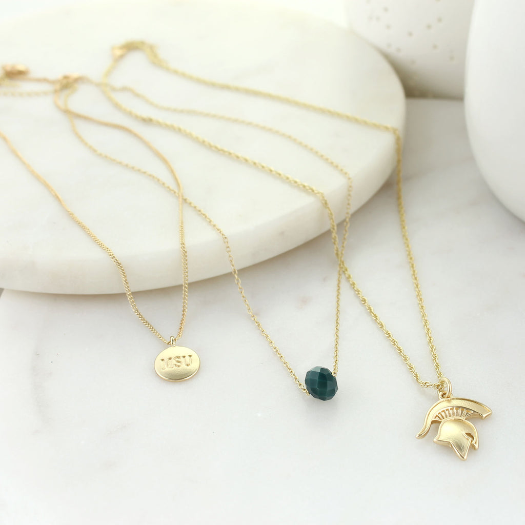 "16"" - 20"" Michigan State Matte Gold Logo Trio Necklace Set"