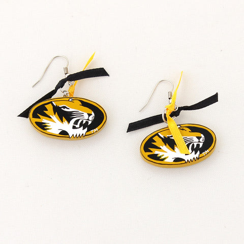 Missouri Painted Wood Logo with Ribbon Earrings