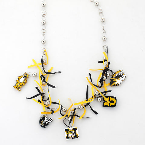Missouri Painted Wood Logo with Ribbon Necklace