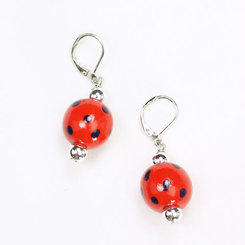 Mississippi Polka Dots Wood Bead Earrings
