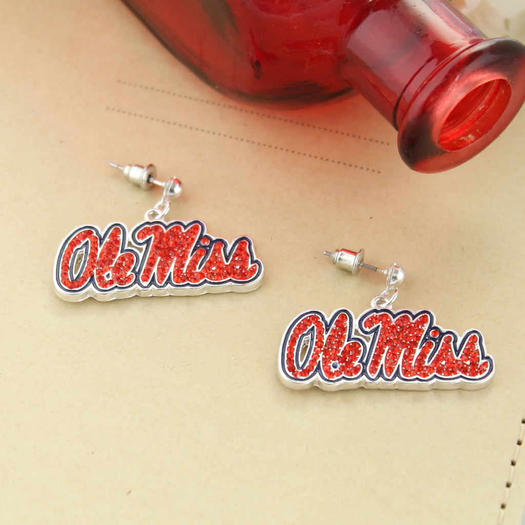 Mississippi Crystal Logo Earrings