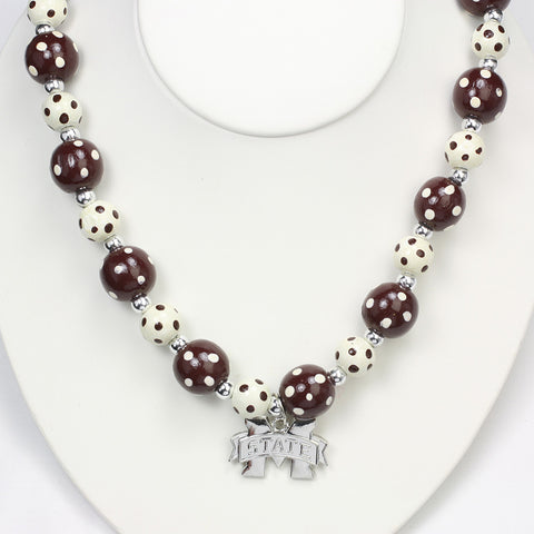 Mississippi State Polka Dots Wood Bead Stretch Necklace