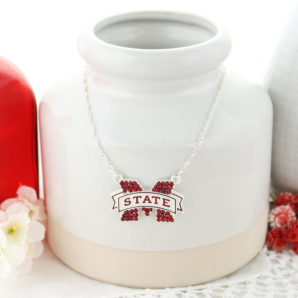 Mississippi State Crystal Logo Necklace
