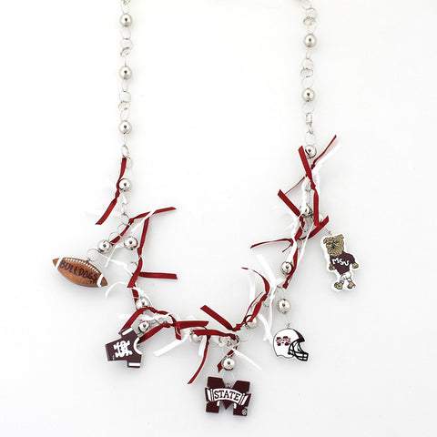 Mississippi State Painted Wood Logo with Ribbon Necklace