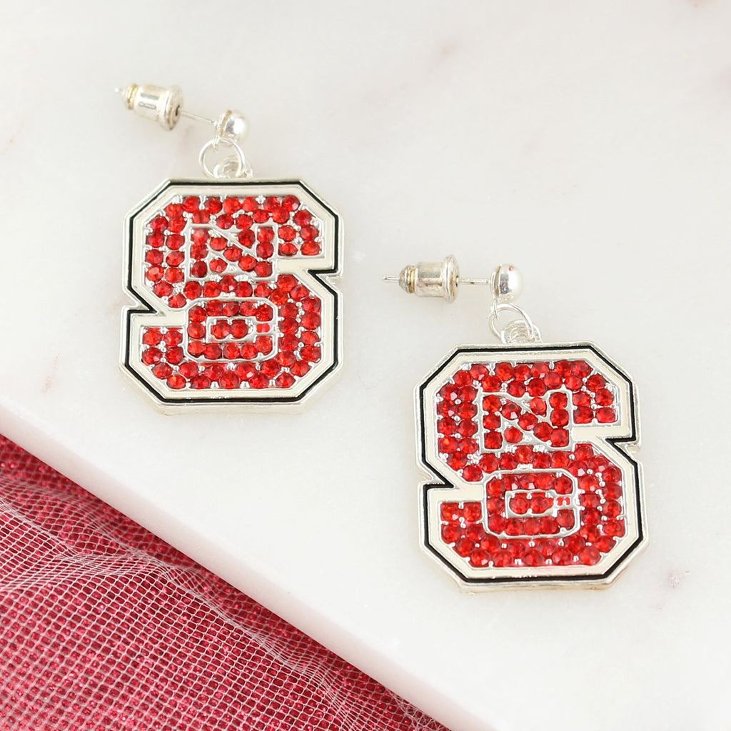 NC State Crystal Logo Earrings