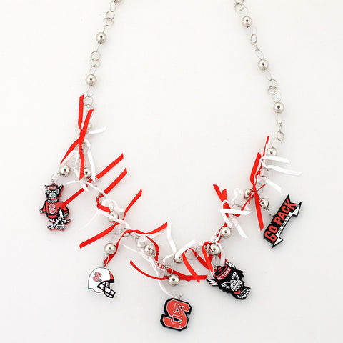 NC State Painted Wood Logo with Ribbon Necklace