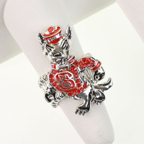 Seasons Jewelry NC State Wolfpack Crystal Stretch Ring