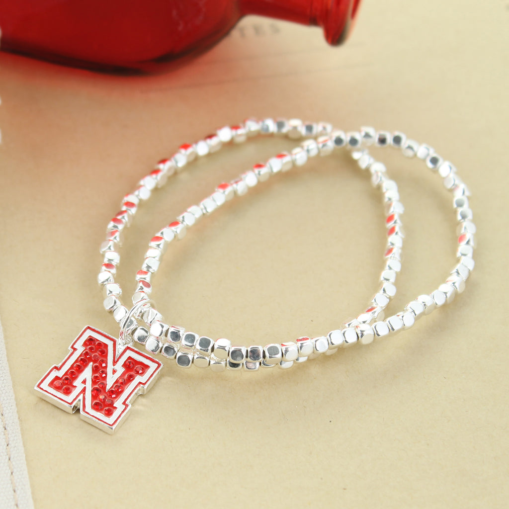 Nebraska Crystal Logo Stretch Bracelet