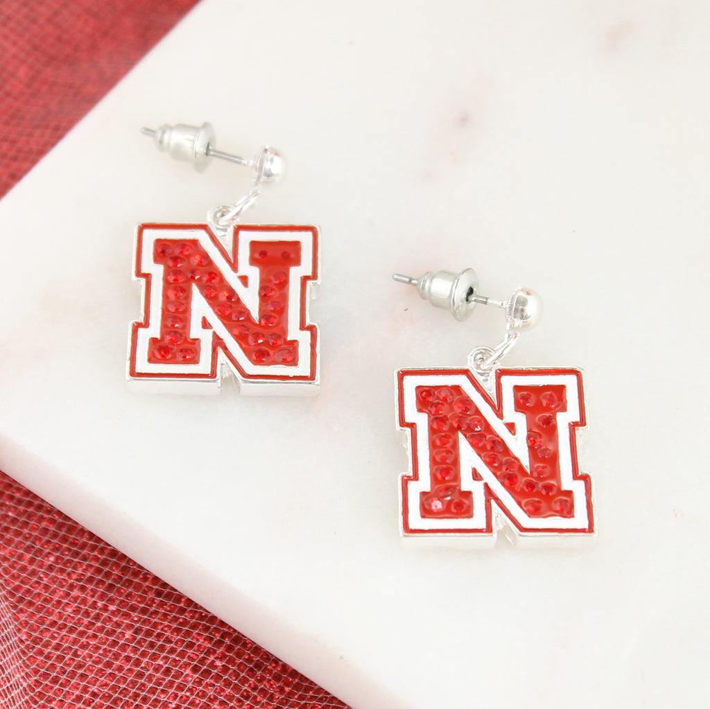 Nebraska Crystal Logo Earrings