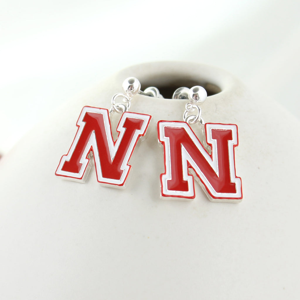 Nebraska Enamel Logo Earrings