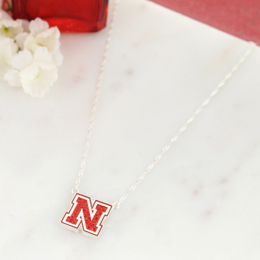 Nebraska Crystal Logo Necklace