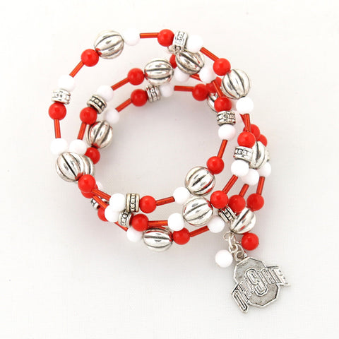 Ohio State Logo Beaded Wrap Bracelet