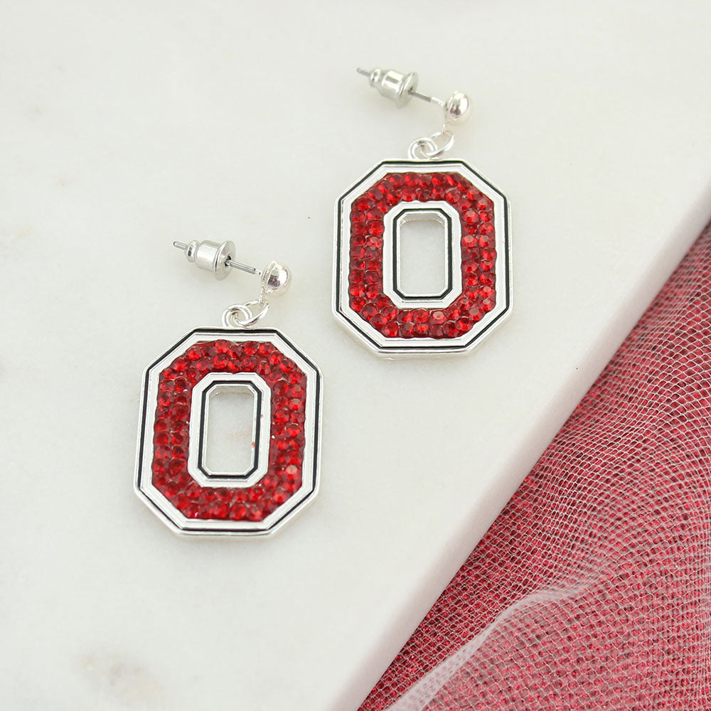 Ohio State Crystal Logo Earrings
