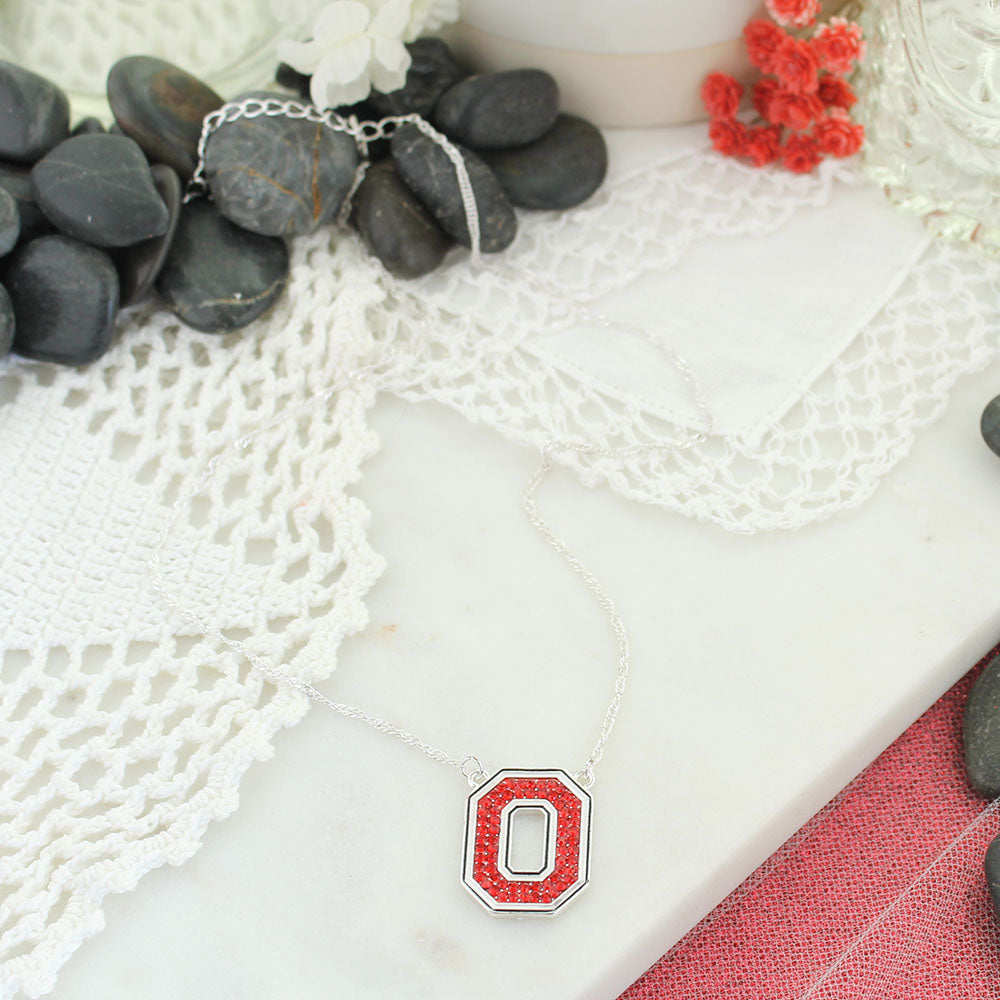 Ohio State Crystal Logo Necklace