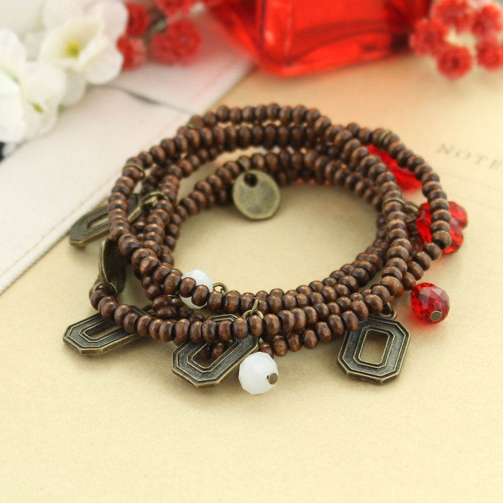 Ohio State Wood Bead Stretch Necklace/Bracelet