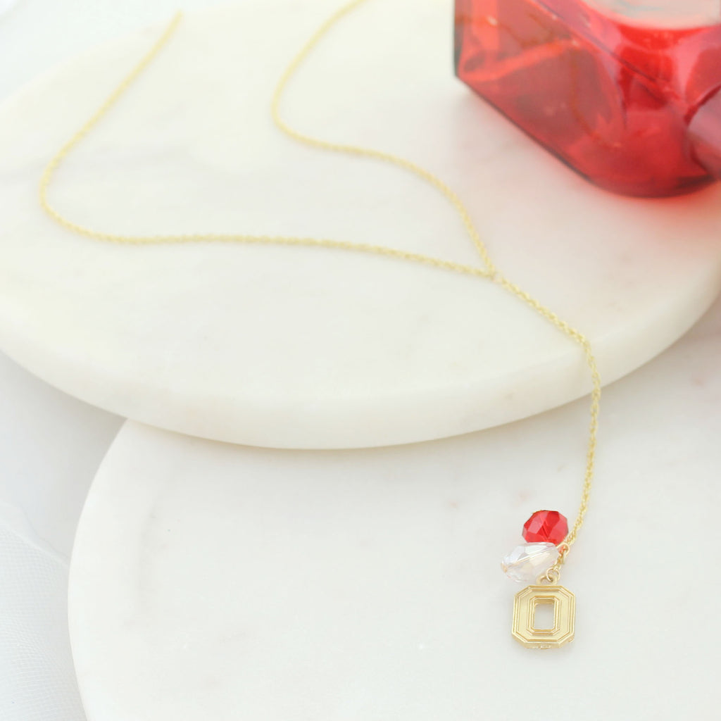 "32"" Ohio State Matte Gold Logo Y-Necklace"